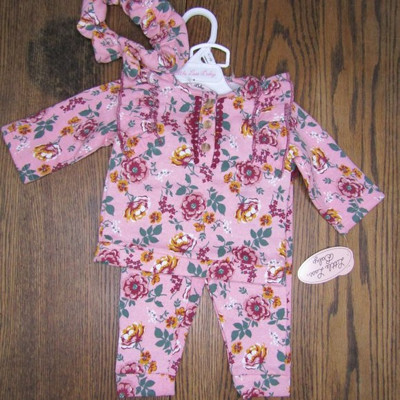 Little Lass Baby Girls 3 piece pink floral outfit
